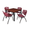 "Kee 42"" Square Breakroom Table- Cherry/ Black & 4 'M' Stack Chairs- Burgundy"