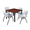 "Kee 42"" Square Breakroom Table- Cherry/ Black & 4 'M' Stack Chairs- Grey"