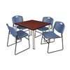 "Kee 42"" Square Breakroom Table- Cherry/ Chrome & 4 Zeng Stack Chairs- Blue"