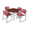 "Kee 42"" Square Breakroom Table- Cherry/ Chrome & 4 Zeng Stack Chairs- Burgundy"