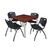 "Kee 42"" Square Breakroom Table- Cherry/ Chrome & 4 'M' Stack Chairs- Black"
