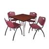 "Kee 42"" Square Breakroom Table- Cherry/ Chrome & 4 'M' Stack Chairs- Burgundy"