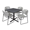 "Cain 42"" Square Breakroom Table- Grey & 4 Zeng Stack Chairs- Grey"