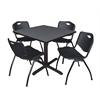 "Cain 42"" Square Breakroom Table- Grey & 4 'M' Stack Chairs- Black"