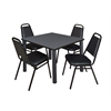 "Kee 42"" Square Breakroom Table- Grey/ Black & 4 Restaurant Stack Chairs- Black"