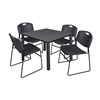 "Kee 42"" Square Breakroom Table- Grey/ Black & 4 Zeng Stack Chairs- Black"