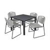 "Kee 42"" Square Breakroom Table- Grey/ Black & 4 Zeng Stack Chairs- Grey"