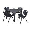 "Kee 42"" Square Breakroom Table- Grey/ Black & 4 'M' Stack Chairs- Black"