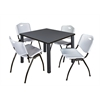 "Kee 42"" Square Breakroom Table- Grey/ Black & 4 'M' Stack Chairs- Grey"