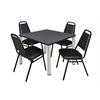 """Kee 42"""" Square Breakroom Table- Grey/ Chrome & 4 Restaurant Stack Chairs- Black"""