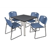 "Kee 42"" Square Breakroom Table- Grey/ Chrome & 4 Zeng Stack Chairs- Blue"
