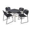 "Kee 42"" Square Breakroom Table- Grey/ Chrome & 4 Zeng Stack Chairs- Black"