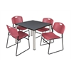 "Kee 42"" Square Breakroom Table- Grey/ Chrome & 4 Zeng Stack Chairs- Burgundy"