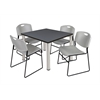 "Kee 42"" Square Breakroom Table- Grey/ Chrome & 4 Zeng Stack Chairs- Grey"