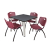 "Kee 42"" Square Breakroom Table- Grey/ Chrome & 4 'M' Stack Chairs- Burgundy"
