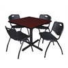 "Cain 42"" Square Breakroom Table- Mahogany & 4 'M' Stack Chairs- Black"