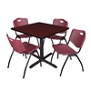 "Cain 42"" Square Breakroom Table- Mahogany & 4 'M' Stack Chairs- Burgundy"