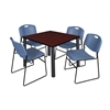 "Kee 42"" Square Breakroom Table- Mahogany/ Black & 4 Zeng Stack Chairs- Blue"