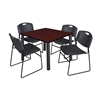 "Kee 42"" Square Breakroom Table- Mahogany/ Black & 4 Zeng Stack Chairs- Black"