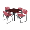 "Kee 42"" Square Breakroom Table- Mahogany/ Black & 4 Zeng Stack Chairs- Burgundy"