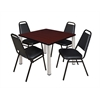 "Kee 42"" Square Breakroom Table- Mahogany/ Chrome & 4 Restaurant Stack Chairs- Black"