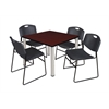"Kee 42"" Square Breakroom Table- Mahogany/ Chrome & 4 Zeng Stack Chairs- Black"