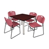"Kee 42"" Square Breakroom Table- Mahogany/ Chrome & 4 Zeng Stack Chairs- Burgundy"