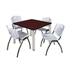 "Kee 42"" Square Breakroom Table- Mahogany/ Chrome & 4 'M' Stack Chairs- Grey"