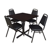 "Cain 42"" Square Breakroom Table- Mocha Walnut & 4 Restaurant Stack Chairs- Black"