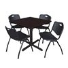 "Cain 42"" Square Breakroom Table- Mocha Walnut & 4 'M' Stack Chairs- Black"