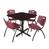 "Cain 42"" Square Breakroom Table- Mocha Walnut & 4 'M' Stack Chairs- Burgundy"