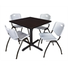"Cain 42"" Square Breakroom Table- Mocha Walnut & 4 'M' Stack Chairs- Grey"