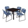 "Kee 42"" Square Breakroom Table- Mocha Walnut/ Black & 4 Zeng Stack Chairs- Blue"