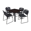 "Kee 42"" Square Breakroom Table- Mocha Walnut/ Black & 4 Zeng Stack Chairs- Black"