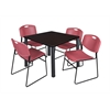 "Kee 42"" Square Breakroom Table- Mocha Walnut/ Black & 4 Zeng Stack Chairs- Burgundy"
