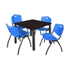 "Kee 42"" Square Breakroom Table- Mocha Walnut/ Black & 4 'M' Stack Chairs- Blue"