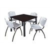 "Kee 42"" Square Breakroom Table- Mocha Walnut/ Black & 4 'M' Stack Chairs- Grey"