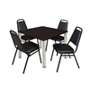"Kee 42"" Square Breakroom Table- Mocha Walnut/ Chrome & 4 Restaurant Stack Chairs- Black"