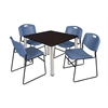 "Kee 42"" Square Breakroom Table- Mocha Walnut/ Chrome & 4 Zeng Stack Chairs- Blue"
