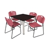 "Kee 42"" Square Breakroom Table- Mocha Walnut/ Chrome & 4 Zeng Stack Chairs- Burgundy"