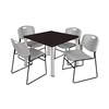 "Kee 42"" Square Breakroom Table- Mocha Walnut/ Chrome & 4 Zeng Stack Chairs- Grey"