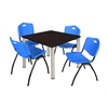 "Kee 42"" Square Breakroom Table- Mocha Walnut/ Chrome & 4 'M' Stack Chairs- Blue"