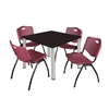 "Kee 42"" Square Breakroom Table- Mocha Walnut/ Chrome & 4 'M' Stack Chairs- Burgundy"