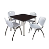 "Kee 42"" Square Breakroom Table- Mocha Walnut/ Chrome & 4 'M' Stack Chairs- Grey"