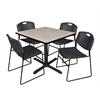 "Cain 42"" Square Breakroom Table- Maple & 4 Zeng Stack Chairs- Black"