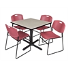 "Cain 42"" Square Breakroom Table- Maple & 4 Zeng Stack Chairs- Burgundy"