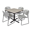 "Cain 42"" Square Breakroom Table- Maple & 4 Zeng Stack Chairs- Grey"