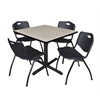 "Cain 42"" Square Breakroom Table- Maple & 4 'M' Stack Chairs- Black"
