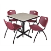 "Cain 42"" Square Breakroom Table- Maple & 4 'M' Stack Chairs- Burgundy"