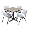 "Cain 42"" Square Breakroom Table- Maple & 4 'M' Stack Chairs- Grey"